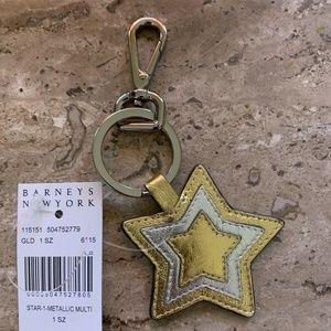 Barneys New York Metallic Star Key Ring NEW